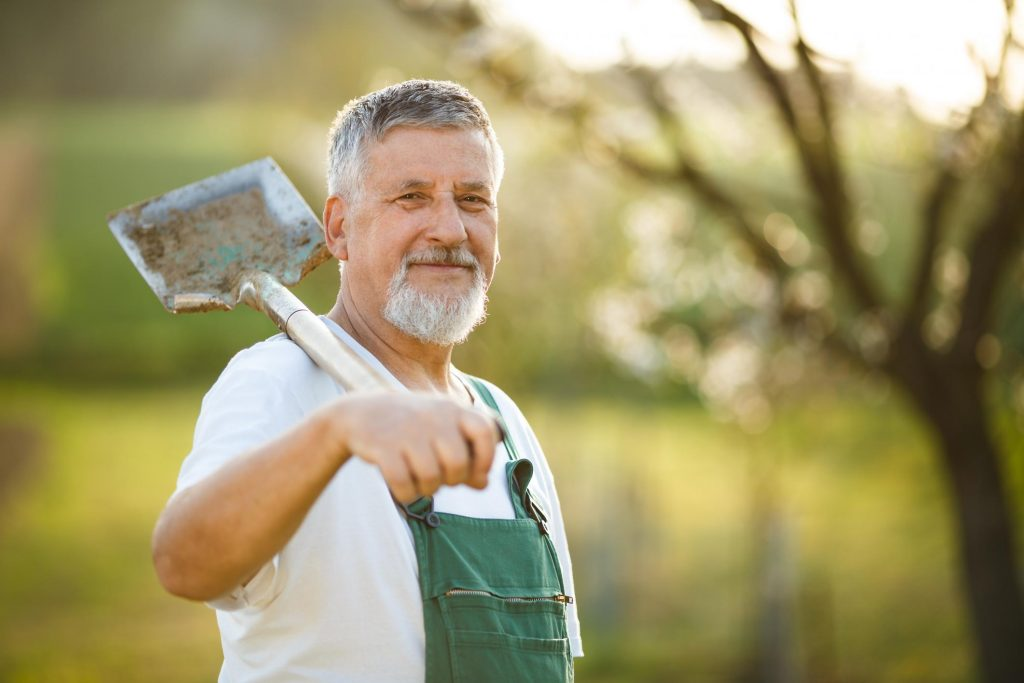 man with his shovel for his garden